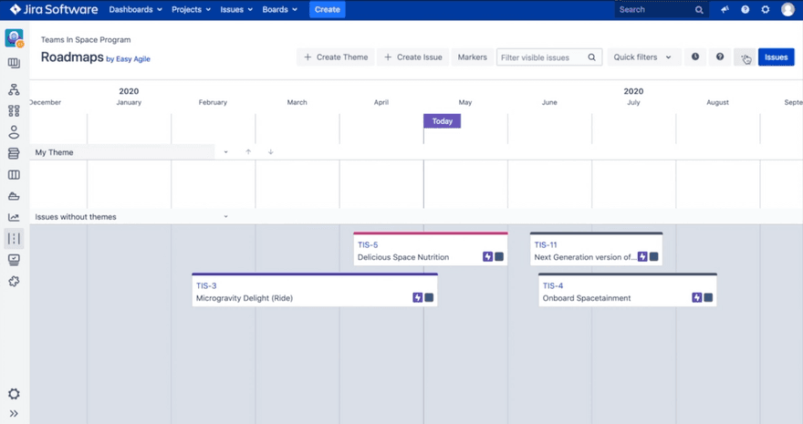 Screenshot of a product roadmap