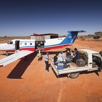 Image of Royal Flying Doctor Service Plane in outback Australia
