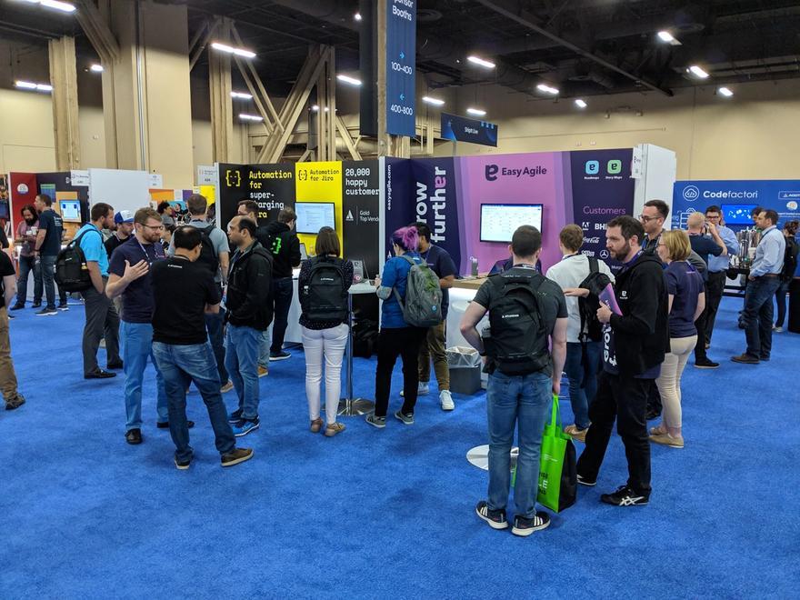 Stephanie Seymour on the Easy Agile booth at Atlassian Summit, Las Vegas, 2019