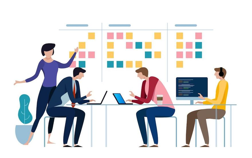 dependencies management: illustration of people discussing something