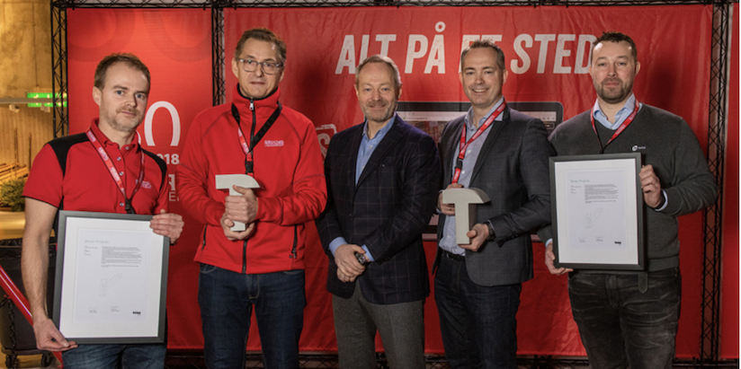 På bildet fra venstre; Per Stubberud Lieng (økonomisjef i Gausdal Landhandleri), Audun Løhre (daglig leder i Gausdal Landhandleri), Arne Malonæs (Bygg21), Aleksander Bjaaland (adm.dir. Holte), Harald Rosingaunet (produktdirektør Holte). Foto: Gisle Johnsen, GDF Media