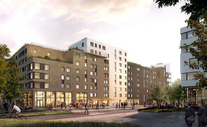 Byggeprosjektet Ulvenparken i Oslo startet i 2016. Boligene kommer for salg våren 2019. Illustrasjon: Obos
