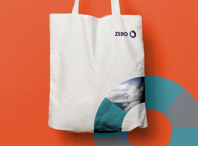 Handlenett som viser hvordan hjulet i Zero-logoen kan brukes som et designelement. Har også et bilde av vindmøller i hjulet.