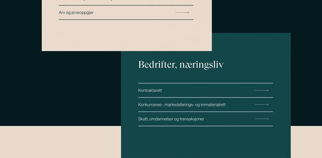 Eksempler fra designet til nettsiden fra Advokatfirmaet Grindstad