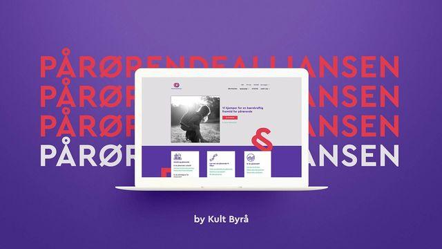 Mac som viser screenshot av nettsiden til Pårørendealliansen