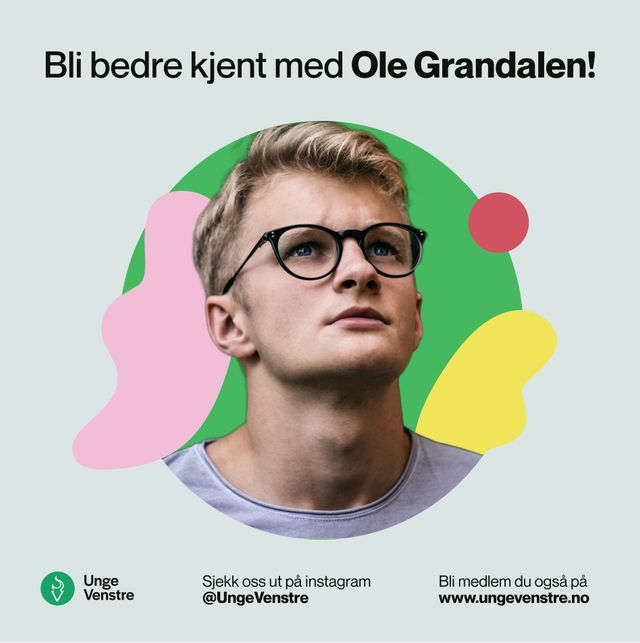 Design av instagram post for Unge Venstre. Utsnitt av person klippet sammen med lekne former. Skjermbilde.