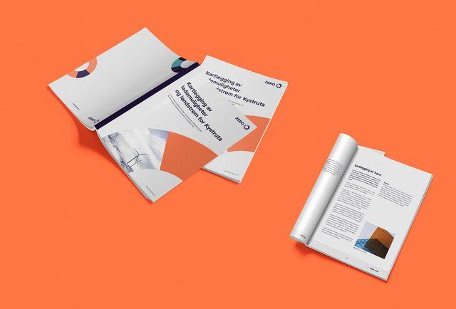 Eksempler på rapport-design for ZERO. Logoen er brukt som et illustrativt element på forsiden.