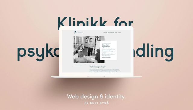 Mac med et screenshot fra nettsiden for Klinikk for psykologbehandling