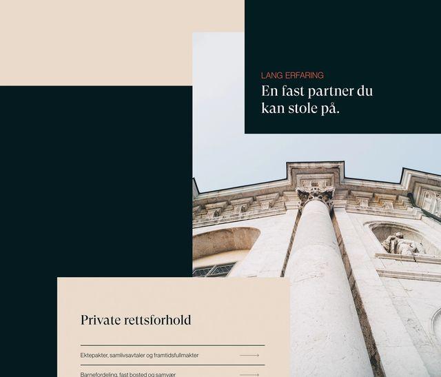 """Utdrag fra designet til nettsiden til Grindstad. Det står """"Lang erfaring, en fast partner du kan stole på"""""""