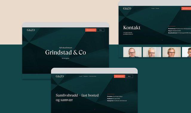 Screenshots av nettsiden til advokatfirmaet Grindstad