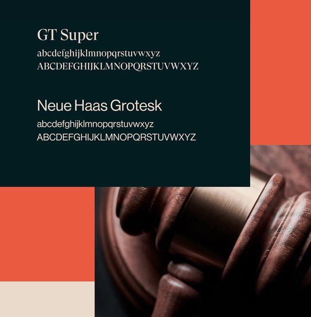 Fontene GT Super og Neue Haas Grotesk i bruk på profilen til Advokatfirmaet Grindstad