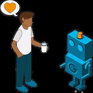 Illustrasjon av person snakker med google-robot