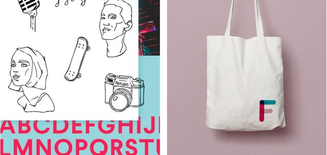 Eksempler på designprofilen i bruk. Viser illustrasjonsstilen til Frifond og totebag med logo på.