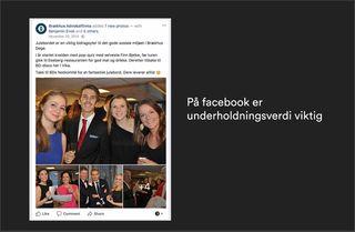 Facebookpost fra Brækhus Advokatfirma. Tekst: På facebook er underholdningsverdi viktig.