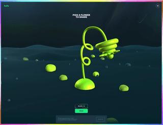 """Skjermbilde av nettside for en Hulu-kampanje, viser et 3D landskap og 3D-blomst med teksten """"Pick a flower to share""""."""