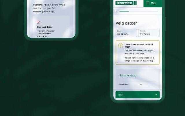 Screenshot fra nettbutikken til Franzefoss. Eksempel på hvordan man får beskjed om at leieperioden er for lang.