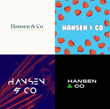 """""""Hansen og co"""" skrevet i fire ulike stiler. En elegant stil, en leken, en abstrakt og en moderne."""