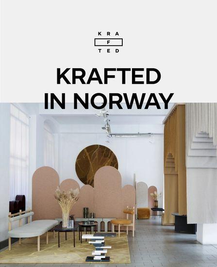 """Logoen til Krafted, bilde av møblene deres og teksten """"Krafted in Norway"""""""