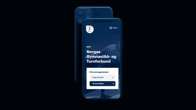 Iphone som viser forsiden av mobilnettsiden til NGTF