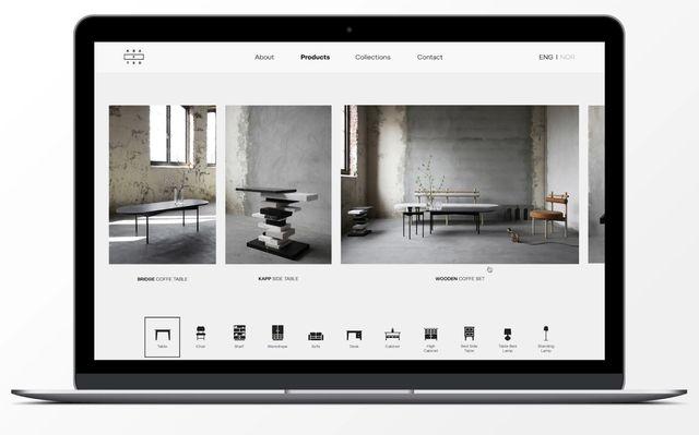 Screenshot fra nettsiden til Krafted. Viser produktene og kategoriene i nettbutikken.