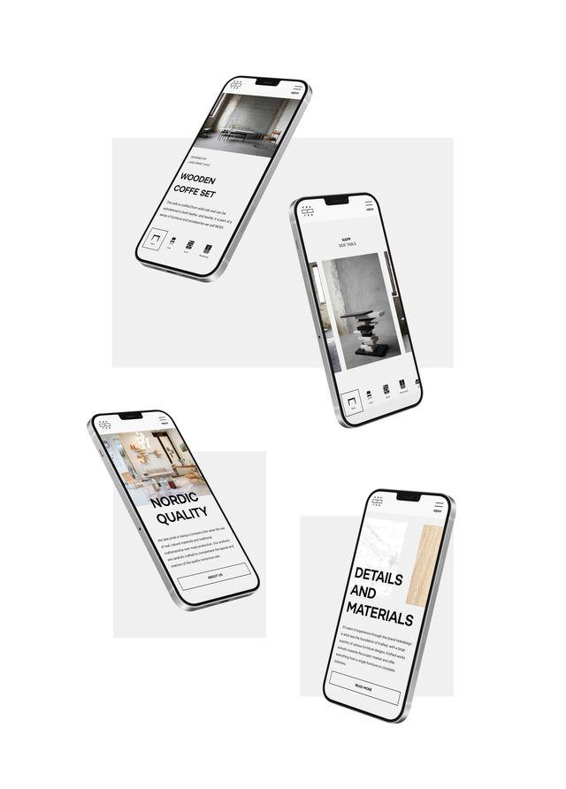 Fire screenshots fra nettsiden til Krafted, vist på skjermen til fire mobiler.