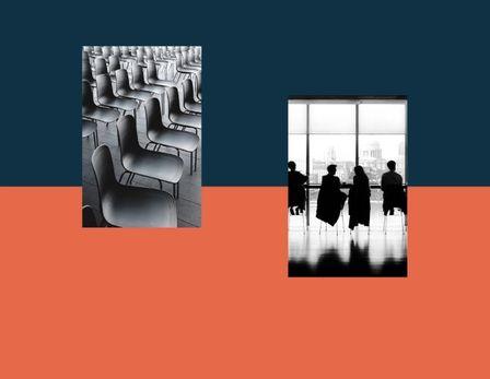 En illustrasjon av designprofilen til AAV – fargen mørkeblå og oransje i kombinasjon bilder av businessmotiv