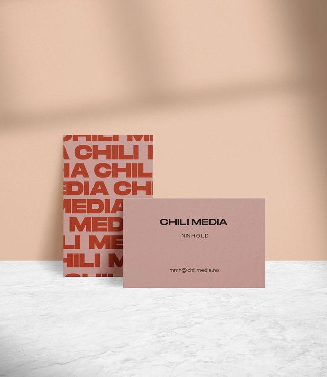 Eksempel på visittkort for Chili Media