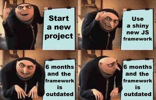 Man looks proud. Step 1. Start a new project. Step 2. Use a shiny new javascript framework. Step 3. 6 months later, and the framework is outdated. Man looks shocked and worried. Meme.