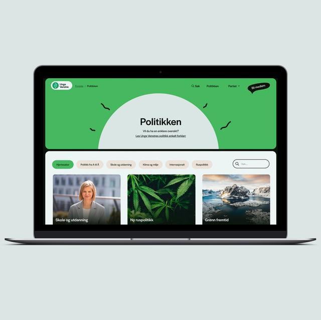 """Nettsiden til Unge Venstre. Viser """"Politikk"""" siden med bilder fra hjertesaker. Formspråket er mykt og med lekne illustrasjoner."""