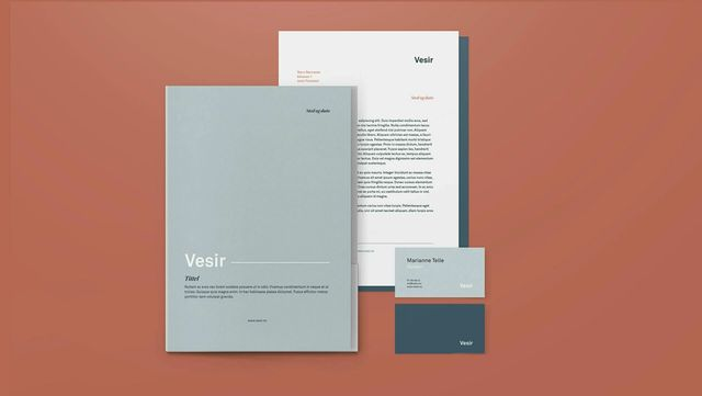 Eksempel på brevark og visittkort for Vesir