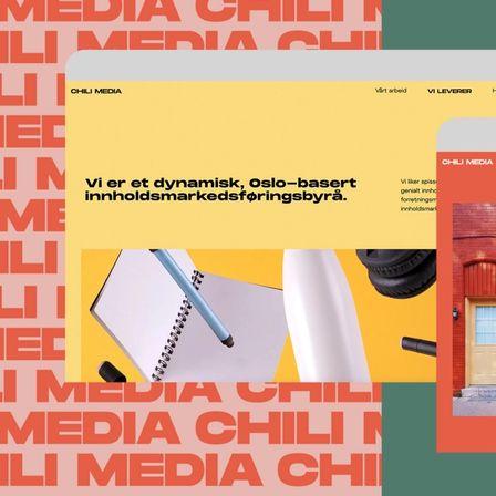 Screenshot av den fargerike nettsiden til Chili Media