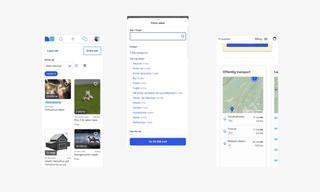 Tre skjermbilder fra nettsiden til Finn.no. Viser at nettsiden har app-lignende elementer. Bilde.