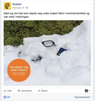 Eksempel på en facebook konkurranse fra Rusken