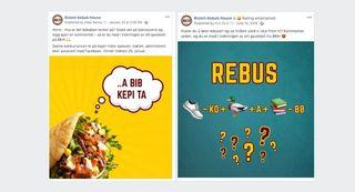 Facebookpost fra Bislett Kebab House med rebus-konkurranse