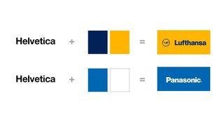 Eksempel på hvordan helvetica kombiner med mørkeblått og gult blir Lufthansa, mens Helvetica kombinert med blått og hvitt blit Panasonic