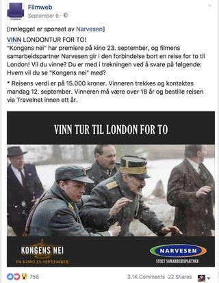 Eksempel fra FilmWeb sin facebook konkurranse: Vinn tur for to til London