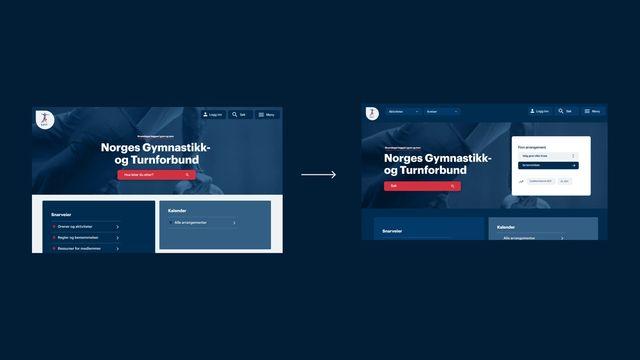 Bilde av nettsiden til NGTF før og etter redesign