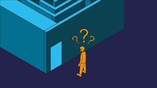 Person ser fovirret inn i en labyrint