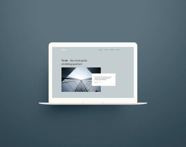 """Screenshot av nettsiden til Vesir. Viser forsiden og teksten """"Vesir –din strategiske partner"""""""