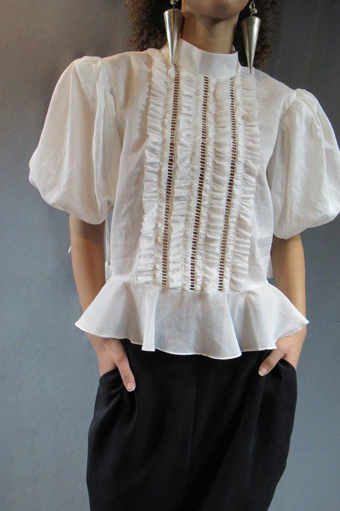 Product Image for Frilled Puff Blouse, White