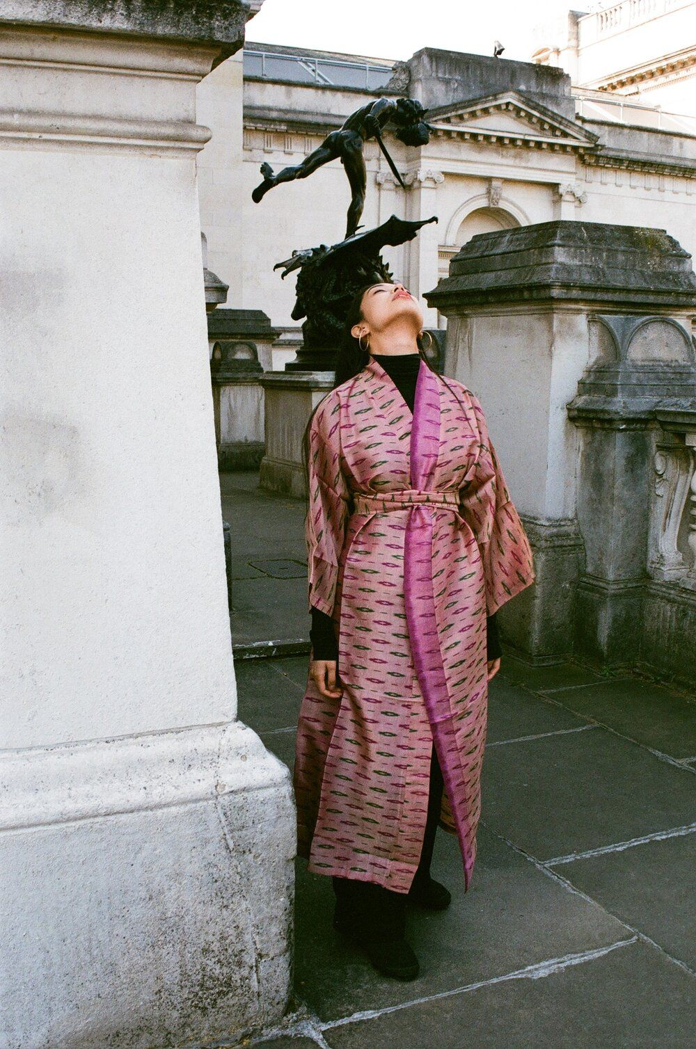Product Image for Ikat Silk Robe, Sandy Lavender