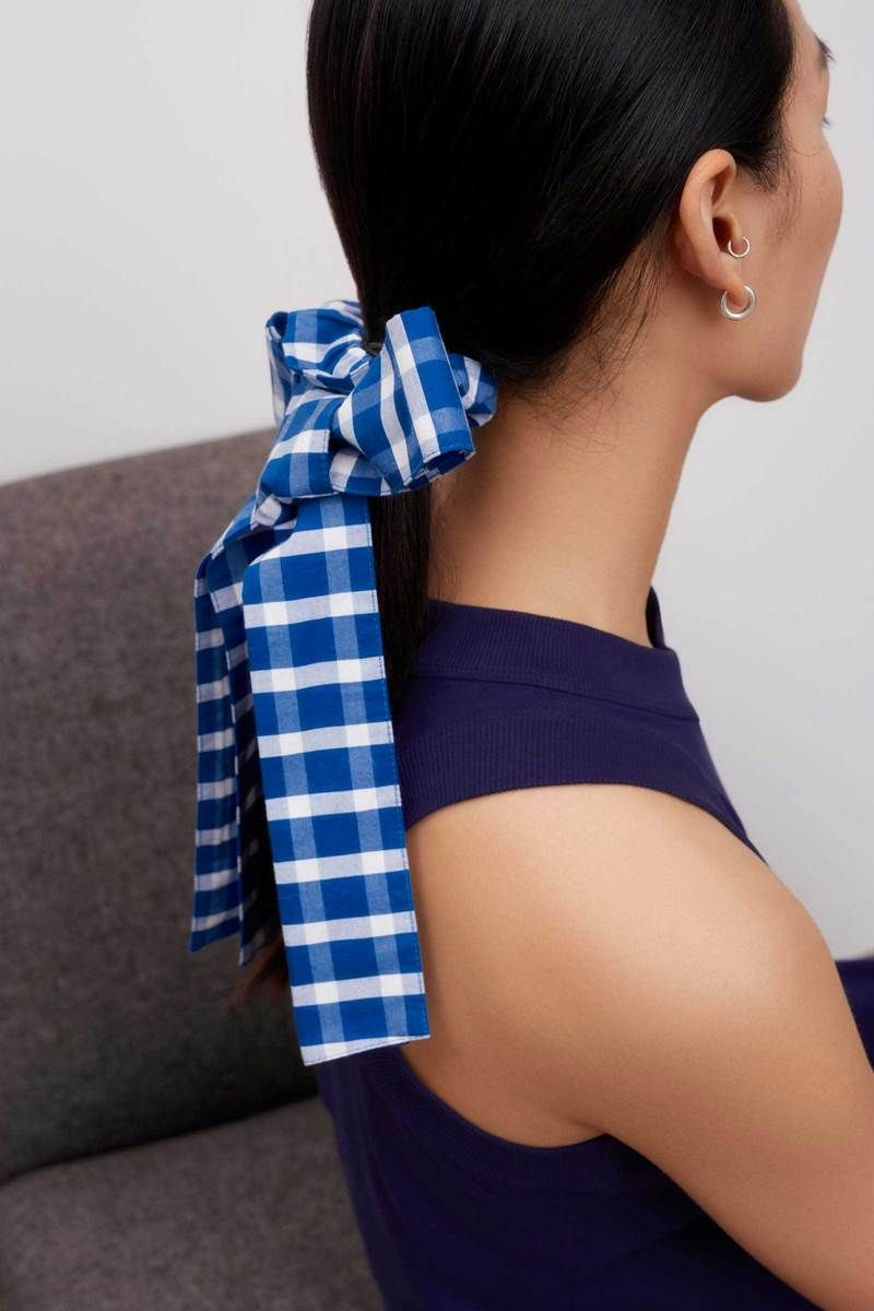 Product Image for Bow Hair Tie, Blue and White Check