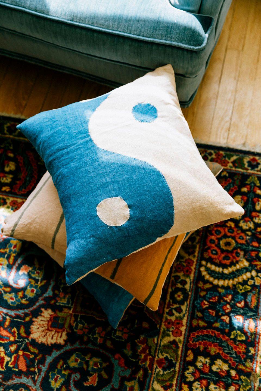 Product Image for Yin Yang Pillow, Indigo