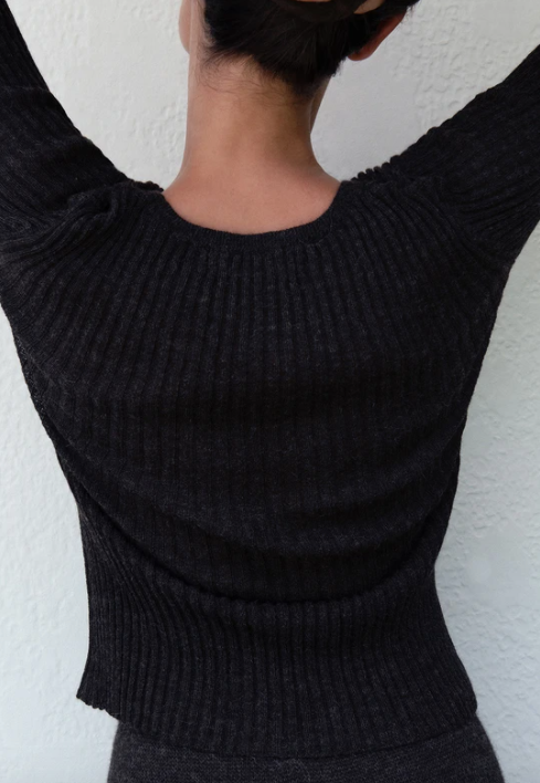 Product Image for Layering Rib Crewneck, Charcoal