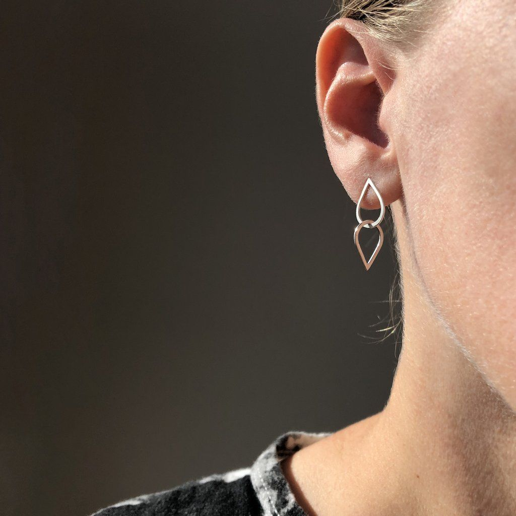 Product Image for Double Droplet Earrings, Sterling Silver