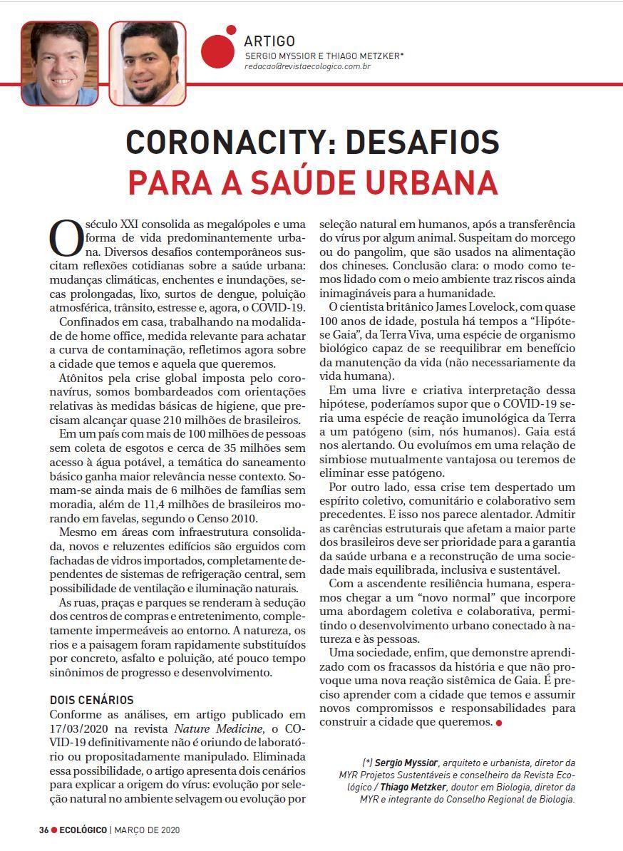 CoronaCity: desafios para a saúde urbana