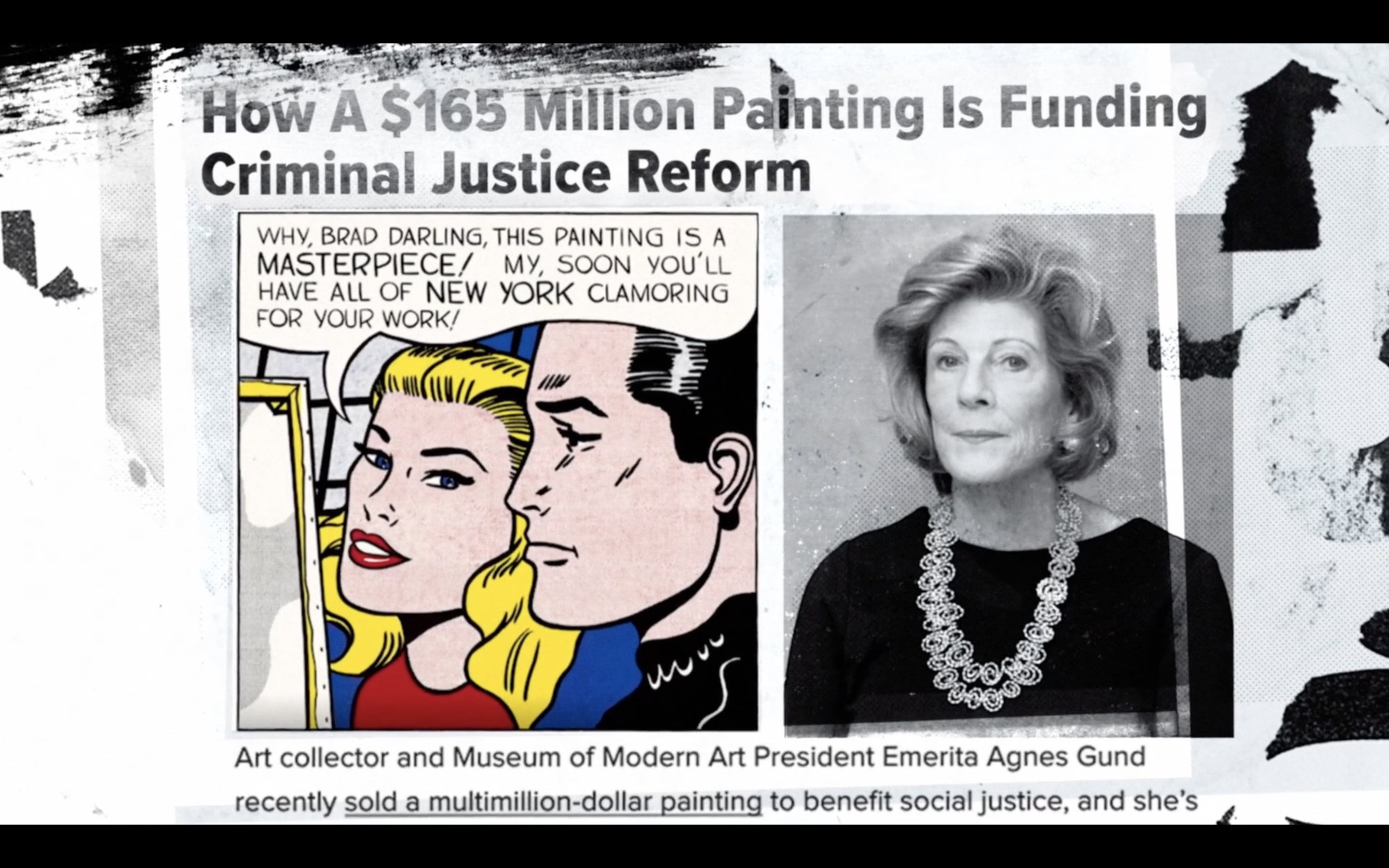 """Agnes Gund featured in June 14, 2017 news story alongside image of Roy Lichtenstein's """"Masterpiece,"""" as seen in Aggie, directed by Catherine Gund"""