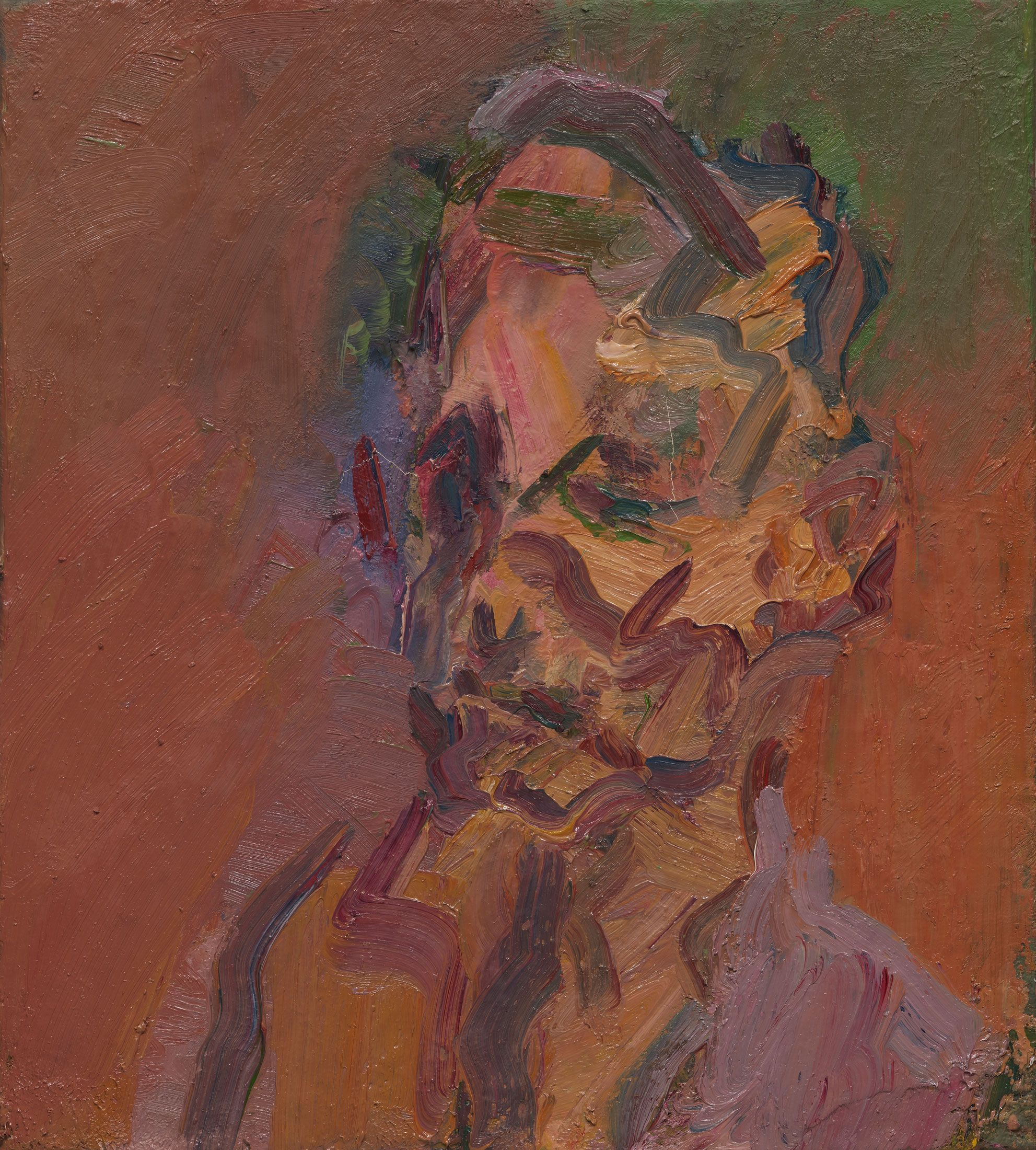 Frank Auerbach, Head of David Landau, 2016. Oil on canvas, 18 1⁄4 x 20 1⁄8 inches.