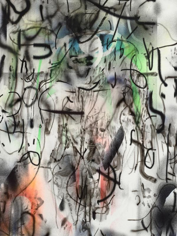 Julie Mehretu, Maahes (Mihos) torch, 2018-2019 (detail)