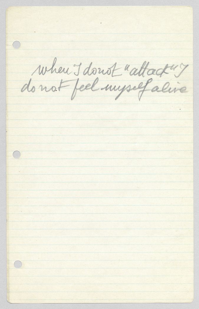 Louise Bourgeois Loose sheet of writing, c. 1961. Handwritten in pencil on ruled paper.